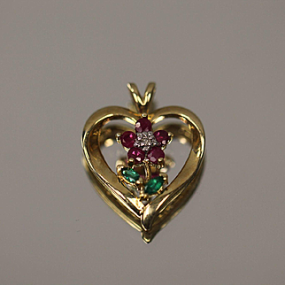 10KT Rose in Heart Ruby Emerald Diamond Pendant Charm in yellow gold