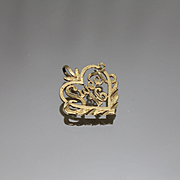 14k - Floral Vine Open Heart Sweet 16 Pendant Charm in Yellow Gold