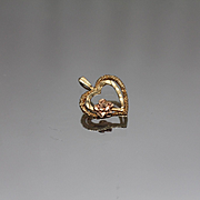 14k - Dainty Double Open Heart with Frosted & Hammered Finish in Yellow & Rose Gold