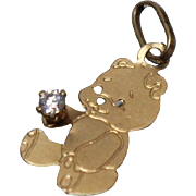 14k - .03 CT - Small / Cute Diamond Teddy Bear Pendant Charm in Yellow Gold