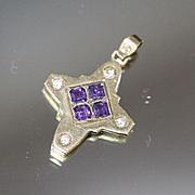 Signed 14K 1.75 CTW Amethyst & Diamond Hand Designed Modern Cross Religious in Yellow Gold