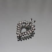 10k - 1.00 CTW - Open Diamond Heart Pendant Charm in White Gold