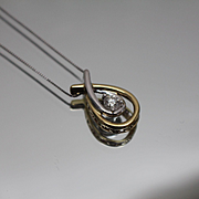 "10k - 18"" - Two Tone Beautiful Diamond Teardrop Diamond Pendant on Box chain link Necklace in White & Yellow Gold"