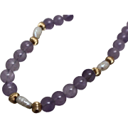 "14k - 19"" - Amethyst & Fresh Water Pearl Beaded Link with Yellow Gold Separators & Clasp"