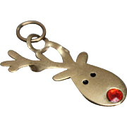 14k - Rudolph the Red Nosed Reindeer Christmas Holiday Pendant Charm in Yellow Gold