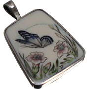 925 - Edwardian Enameled Signed Guilloche Floral Butterfly Scene in Sterling Silver