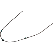 """925 - 15.5"""" Beaded Tube Link Choker with Turquoise Sliding Beads in Sterling Silver - Red Tag Sale Item"""
