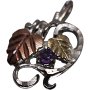 925 - .05 ct - Fall Autumn Leaf with Vivid Amethyst Pendant Charm in Sterling Silver