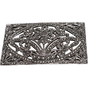 925 - Art Deco Marcasite Encrusted Floral Pin Brooch in Sterling Silver