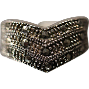 Marcasite V Pointed Ring with Beaded Textured Finish in Sterling Silver