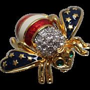 Gold Tone - Joan Rivers Designer Patriotic Stars and Stripes Bee Pin