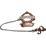 10k - Morgans Enamel Sponsor W.O.T.M Women of the Month Two Part Pin w/ Safety Chain in Yellow Gold