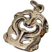 Symmetrical Smiling Wide Face Pendant / Charm in Sterling Silver