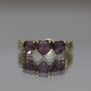 10 .60 CTW Amethyst Heart Band Love Purple in Yellow Gold