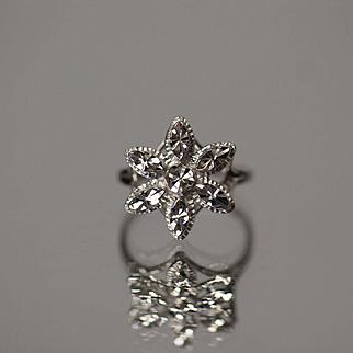 14k Diamond Cut Flower Snowflake Winter Marquise Design in White Gold