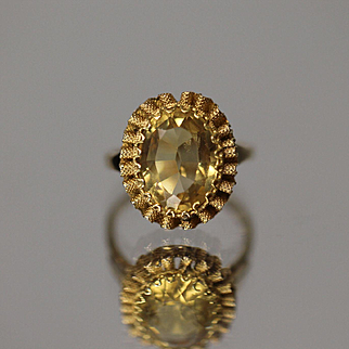 14k 4.20 CTW Oval Faceted Yellow Orange Citrine in Fancy Textured Detailed Wavy Bezel Mount in Yellow Gold