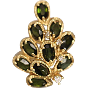 14k 2.60 CTW Green Garnet & Diamond Holiday Christmas Tree Design Cluster in Yellow Gold