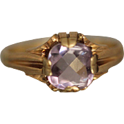 14k - 2ct - Art Deco Antique Cushion Cut Faceted Purple Amethyst in Yellow Gold