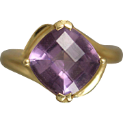 14K 3.75ct Cushion Cut Faceted Purple Amethyst in Fancy Bypass Style Mounting in Yellow Gold