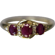 1.10 CTW 10k Cute Ruby & Diamond Accent Past Present Future 3 Stone Ring in Yellow Gold