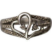 .15 CTW Sterling Silver Double Heart Design Diamond Ring