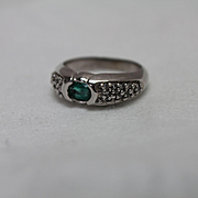 10k - .75 CT - Pave Diamond & Emerald Modernist Style Ring in White Gold