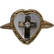 10K Cute Faith and Love Heart & Cross Ring with Mother of Pearl & Diamond in Yellow Gold