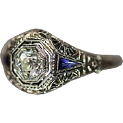 Art Deco .575 CTW Diamond & Sapphire Filigree Octagonal Antique Ring in 18kt White Gold