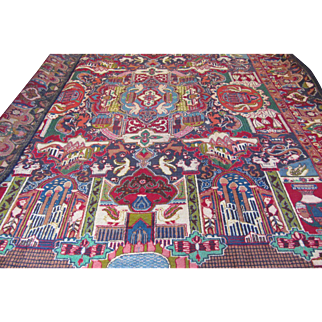 Handmade Authentic Persian Kashan Khorasan Tableau Rug - 60 years - 390 x 300 cm - 12.7 x 9.8 ft
