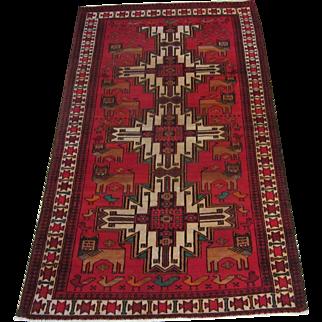Handmade Authentic Caucasian Rug - 60 years - 200 x 110 cm - 6.5 x 3.6 ft