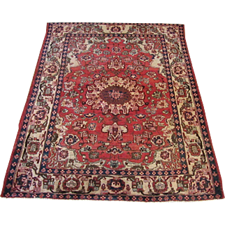 Handmade Authentic Persian Mubarak Isfahan Rug - 80 years - 180 x 145 cm - 5.9 x 4.7 ft