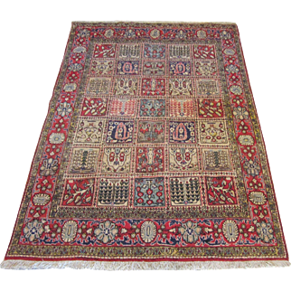 Handmade Authentic Persian Qum Surya Rug - 50 years - 225 x 140 cm - 7.3 x 4.5 ft
