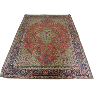 $2,800 Antique Handmade Wool Authentic Persian Qum Rug - 100 years - 212 x 120 cm - 7 x 3.9 ft