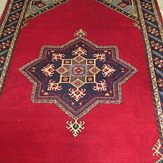 Handmade Authentic Caucasian Azerbaijani Rug - Circa 40 years - 205 x 155cm - 6.7 x 5 ft