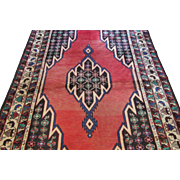 Handmade Authentic Persian Mazlaghan Rug - 80 years - 205 x 140 cm - 6.7 x 4.5 ft