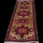 Antique Handmade Authentic Persian Kuba Runner Rug - 110 years - 320 x 90 cm - 10.4 x 2.9 ft