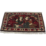 Handmade Authentic Persian Scenery Rug - Tableau - 50 years - 100 x 80 cm - 3.2 x 2.6 ft