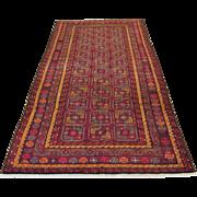 Handmade Authentic Persian Bokhara Yamoud Rug - 50 years - 300 x 120 cm - 9.8 x 3.9 ft