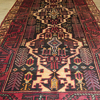Handmade Authentic Caucasian Karabakh Runner Rug - 60 years - 285 x 120 cm - 9.3 x 3.9 ft