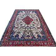 $3,000 Handmade Authentic Persian Sarouk Rug - Signed - Circa 30 years - 235 x 145 cm - 7.7 x 4.7 ft