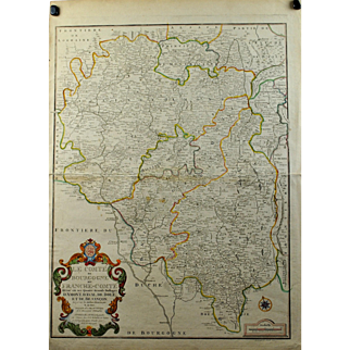 1708 Map of Burgundy France Le Comte de Bourgogne dit Franche-Comte by Nicolas de Fer