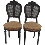 Antique French Provencal Caned Chairs, Pair