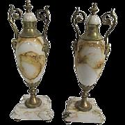 Antique French Marble Urns/Cassolettes/ Garniture, Pair