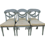 Swedish Gustavian/ French Nordic Carved Biedermeier   Style Chairs S/6