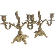 French Gilt Candleholders, Pair