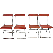 Vintage German  Beer Garden Slatted French Style Rustic Bistro  Farmhouse Chairs,  S/4