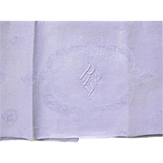 French Linen Monogrammed  Napkins/Tablecloth S/13