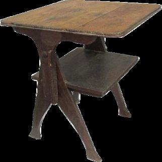 Antique Rusitcc Primitive Pegged Tilt Table/Bench/ Desk Cabin  Country Farmhouse