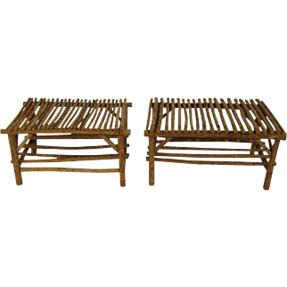 Rustic Cabin/Lodge Stick Twig Branch Tables - A Pair