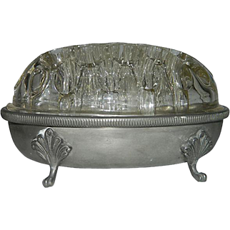 French Mid Century Pewter Centerpiece with Glass Flower Frog